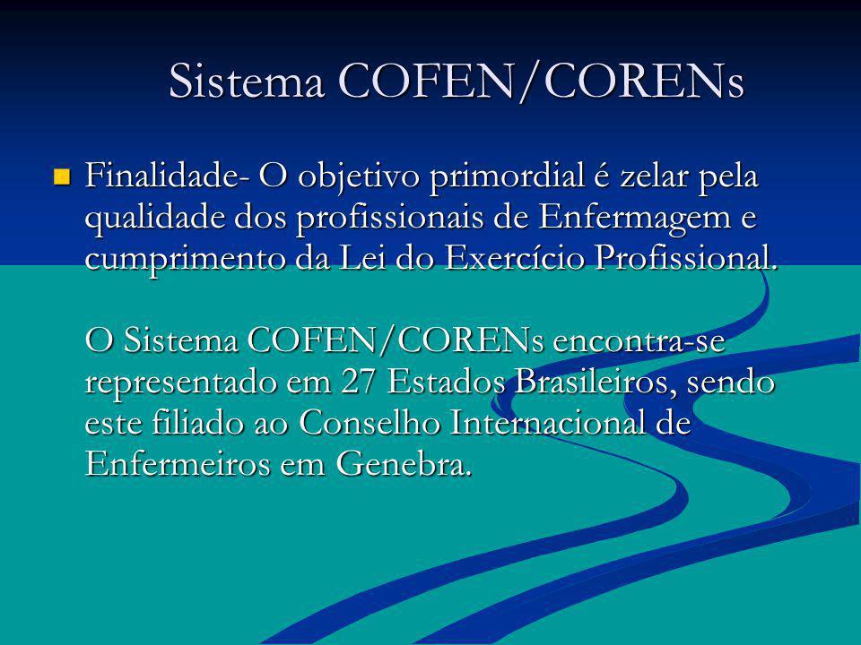 Sistema COFEN/CORENs Sistema COFEN/CORENs Finalidade- O objetivo primordial é zelar pela qualidade dos profissionais de Enfermagem e cumprimento da Le