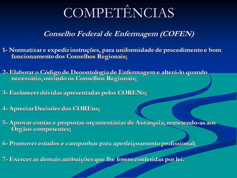 COMPETÊNCIAS COMPETÊNCIAS Conselho Federal de Enfermagem (COFEN) 1- Normatizar e expedir instruções, para uniformidade de procedimento e bom funcionam