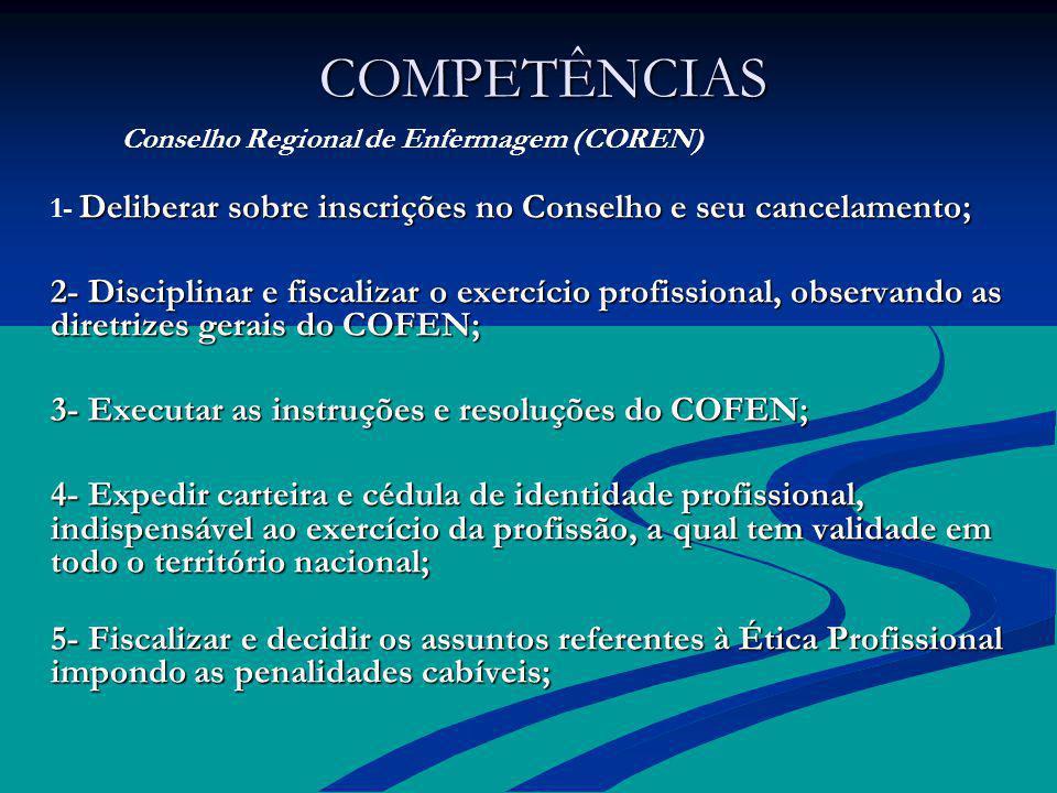COMPETÊNCIAS COMPETÊNCIAS Conselho Regional de Enfermagem (COREN) Deliberar sobre inscrições no Conselho e seu cancelamento; 1- Deliberar sobre inscri