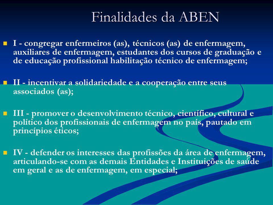 Finalidades da ABEN Finalidades da ABEN I - congregar enfermeiros (as), técnicos (as) de enfermagem, auxiliares de enfermagem, estudantes dos cursos d