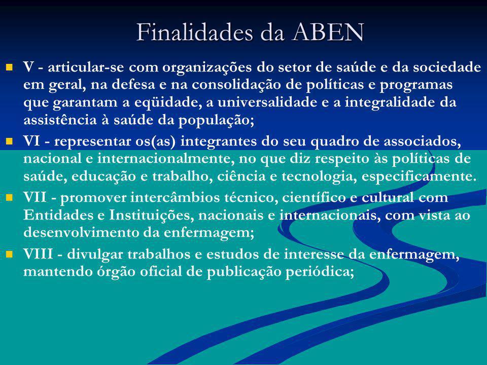 Finalidades da ABEN Finalidades da ABEN V - articular-se com organizações do setor de saúde e da sociedade em geral, na defesa e na consolidação de po