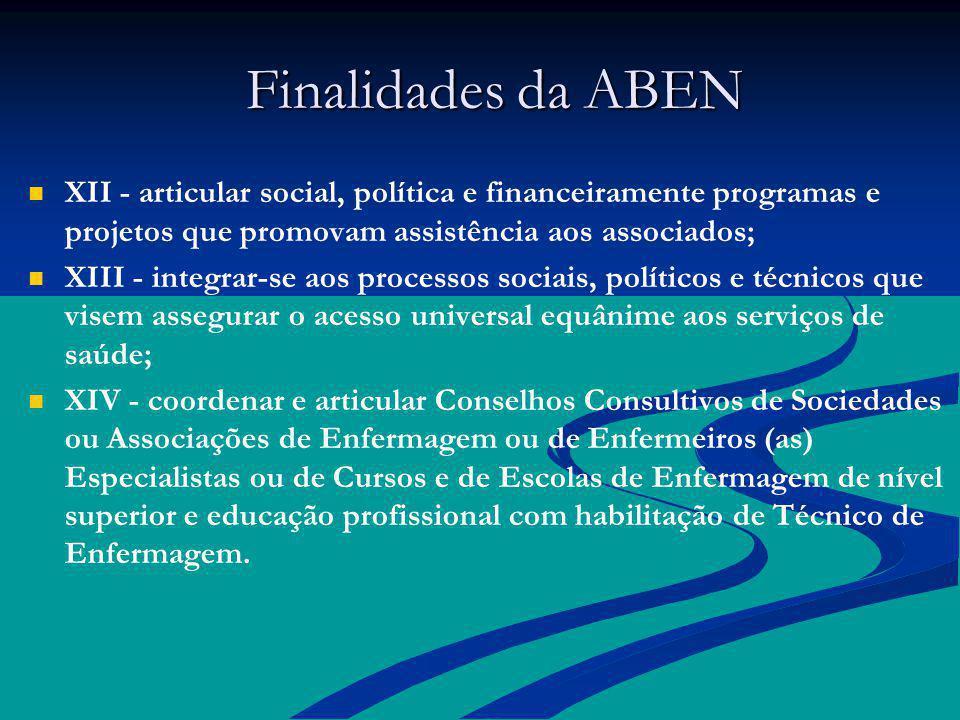 Finalidades da ABEN Finalidades da ABEN XII - articular social, política e financeiramente programas e projetos que promovam assistência aos associado