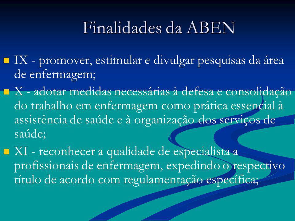 Finalidades da ABEN Finalidades da ABEN IX - promover, estimular e divulgar pesquisas da área de enfermagem; X - adotar medidas necessárias à defesa e