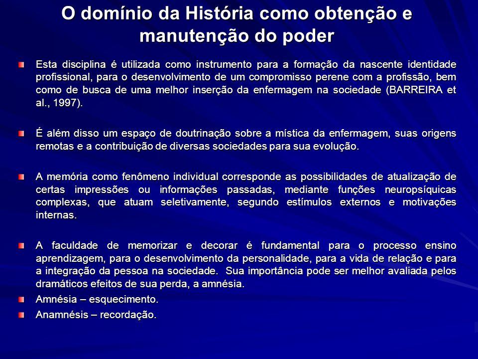 O domínio da História como obtenção e manutenção do poder Esta disciplina é utilizada como instrumento para a formação da nascente identidade profissi