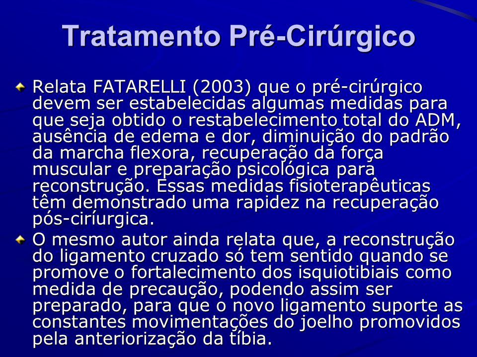 Tratamento Pré-Cirúrgico Relata FATARELLI (2003) que o pré-cirúrgico devem ser estabelecidas algumas medidas para que seja obtido o restabelecimento t