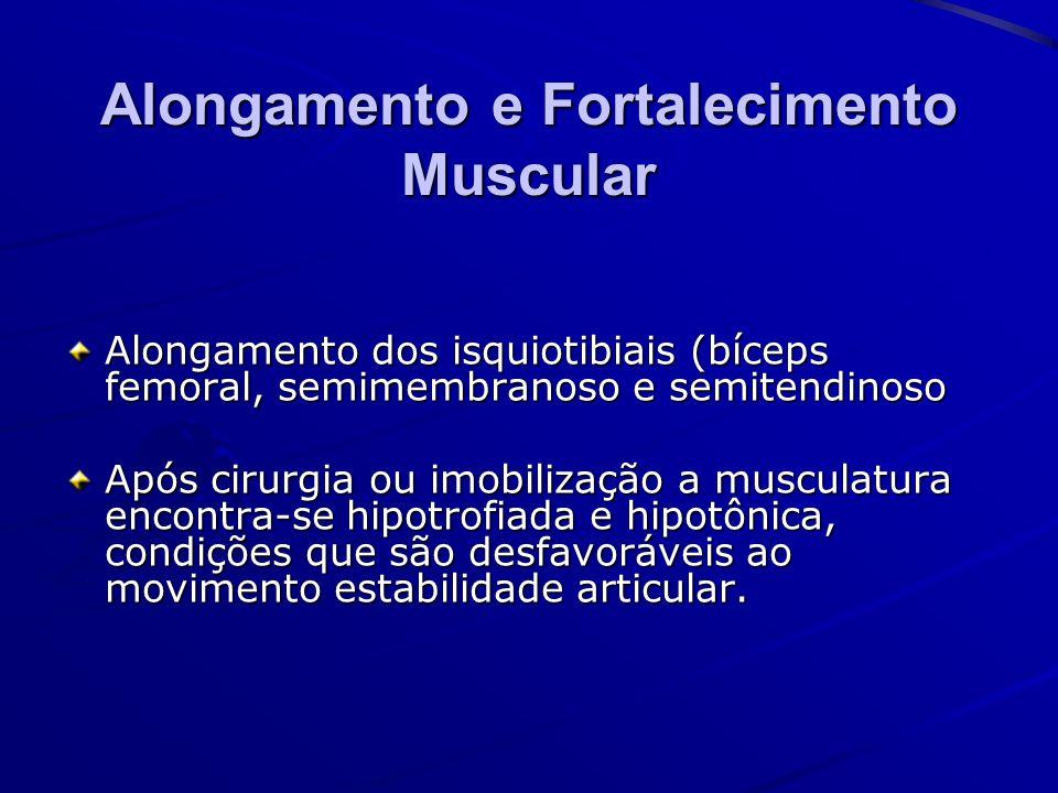 Alongamento e Fortalecimento Muscular Alongamento dos isquiotibiais (bíceps femoral, semimembranoso e semitendinoso Após cirurgia ou imobilização a mu