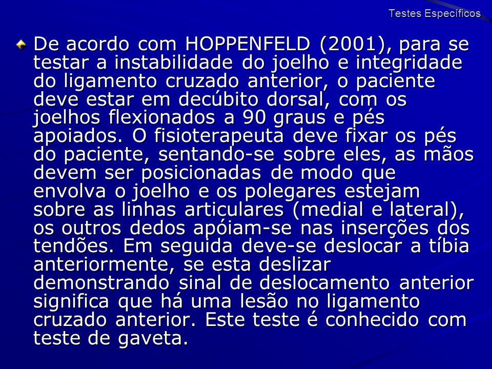 De acordo com HOPPENFELD (2001), para se testar a instabilidade do joelho e integridade do ligamento cruzado anterior, o paciente deve estar em decúbi
