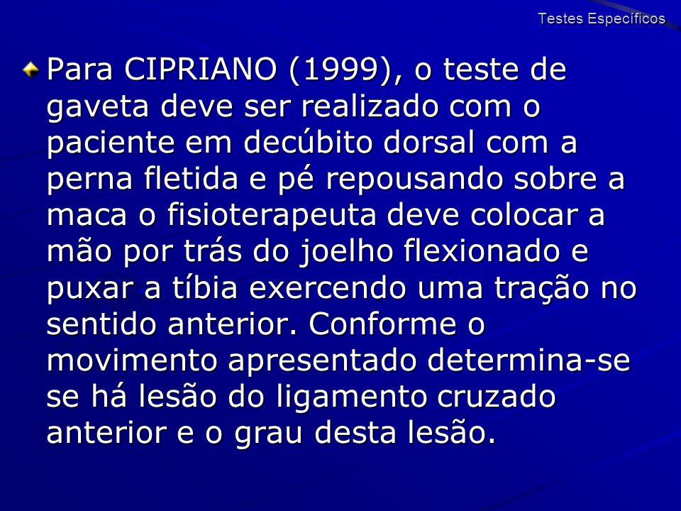 Para CIPRIANO (1999), o teste de gaveta deve ser realizado com o paciente em decúbito dorsal com a perna fletida e pé repousando sobre a maca o fisiot
