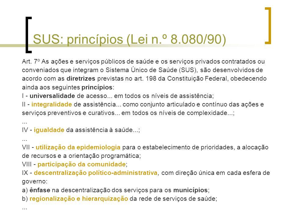 SUS: princípios (Lei n.º 8.080/90) Art.