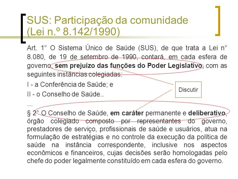SUS: Participação da comunidade (Lei n.º 8.142/1990) Art.