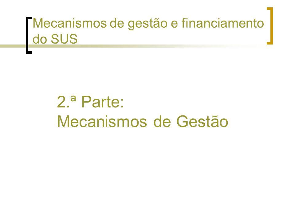2.ª Parte: Mecanismos de Gestão Mecanismos de gestão e financiamento do SUS