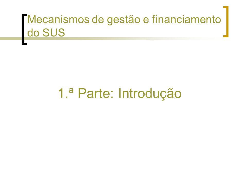 1.ª Parte: Introdução Mecanismos de gestão e financiamento do SUS