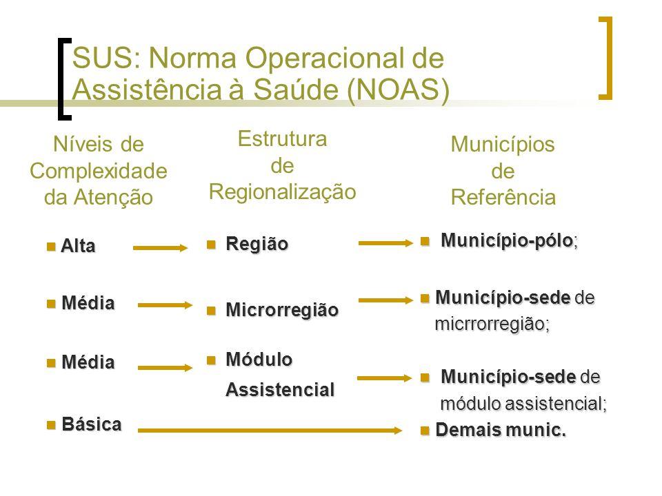 Região Região Microrregião Microrregião Módulo Assistencial Módulo Assistencial SUS: Norma Operacional de Assistência à Saúde (NOAS) Município-pólo; Município-pólo; Município-sede de micrrorregião; Município-sede de micrrorregião; Município-sede de módulo assistencial; Município-sede de módulo assistencial; Demais munic.