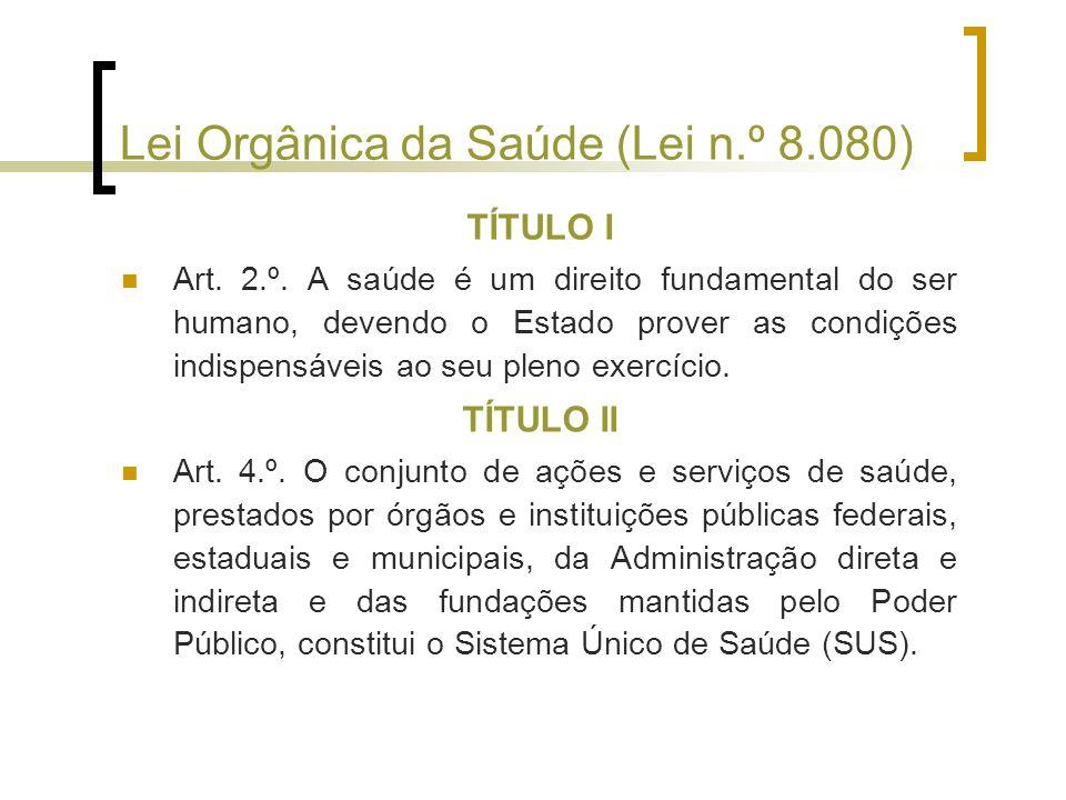 Lei Orgânica da Saúde (Lei n.º 8.080) TÍTULO I Art.