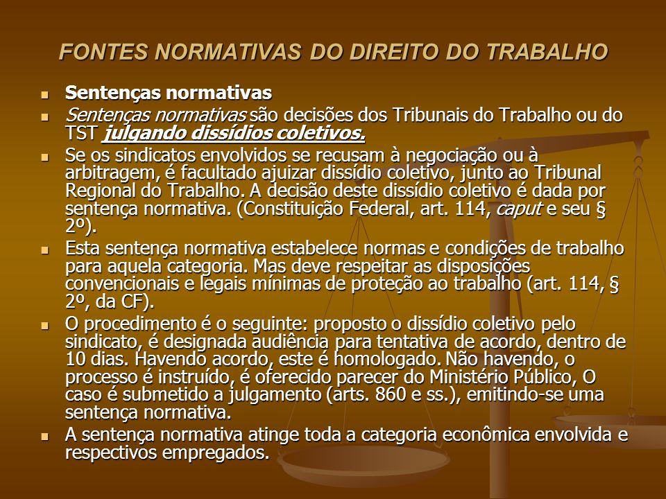 FONTES NORMATIVAS DO DIREITO DO TRABALHO Sentenças normativas Sentenças normativas Sentenças normativas são decisões dos Tribunais do Trabalho ou do T