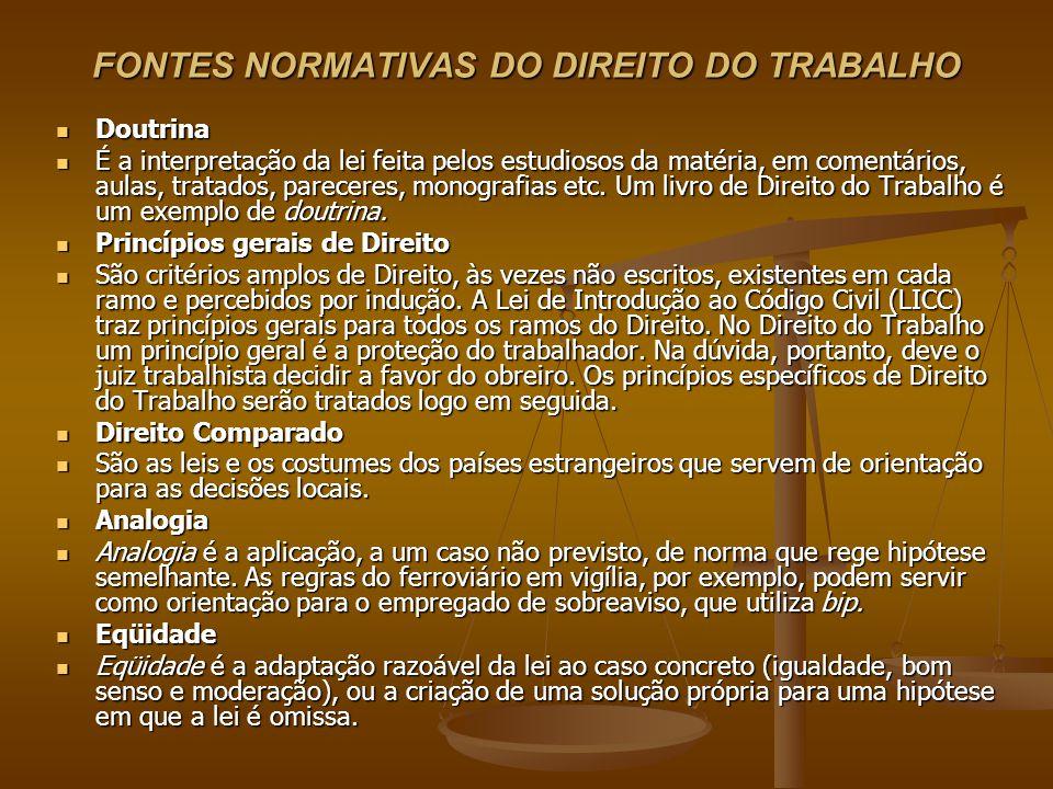 FONTES NORMATIVAS DO DIREITO DO TRABALHO Doutrina Doutrina É a interpretação da lei feita pelos estudiosos da matéria, em comentários, aulas, tratados