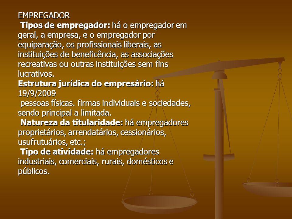 EMPREGADOR Tipos de empregador: há o empregador em Tipos de empregador: há o empregador em geral, a empresa, e o empregador por equiparação, os profis