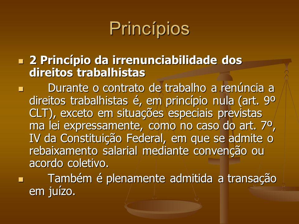 Princípios 2 Princípio da irrenunciabilidade dos direitos trabalhistas 2 Princípio da irrenunciabilidade dos direitos trabalhistas Durante o contrato