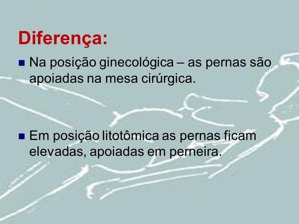 Diferença: Na posição ginecológica – as pernas são apoiadas na mesa cirúrgica. Em posição litotômica as pernas ficam elevadas, apoiadas em perneira.