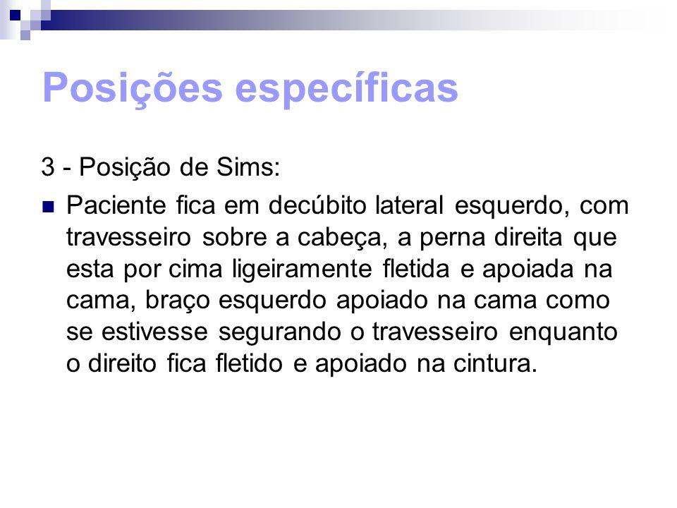 Posições específicas 3 - Posição de Sims: Paciente fica em decúbito lateral esquerdo, com travesseiro sobre a cabeça, a perna direita que esta por cim