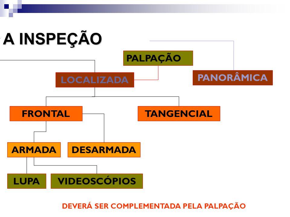 A INSPEÇÃO LOCALIZADA PANORÂMICA TANGENCIALFRONTAL ARMADADESARMADA LUPAVIDEOSCÓPIOS PALPAÇÃO DEVERÁ SER COMPLEMENTADA PELA PALPAÇÃO