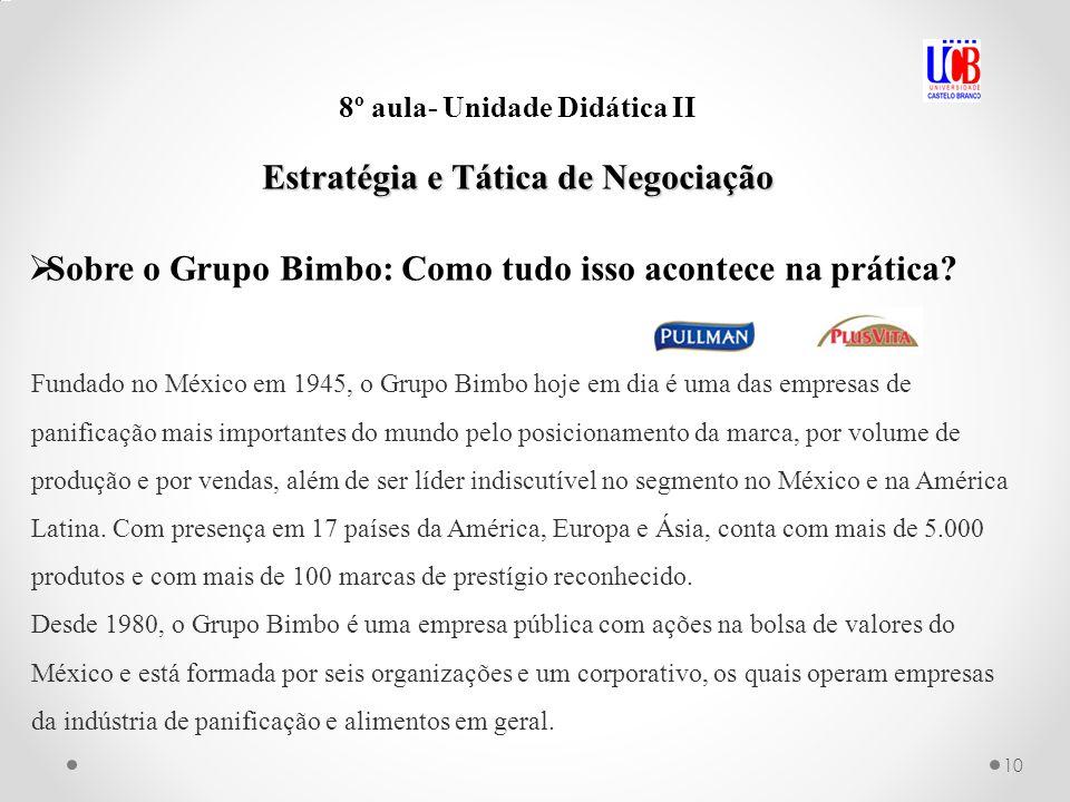 10 8º aula- Unidade Didática II Estratégia e Tática de Negociação Sobre o Grupo Bimbo: Como tudo isso acontece na prática? Fundado no México em 1945,