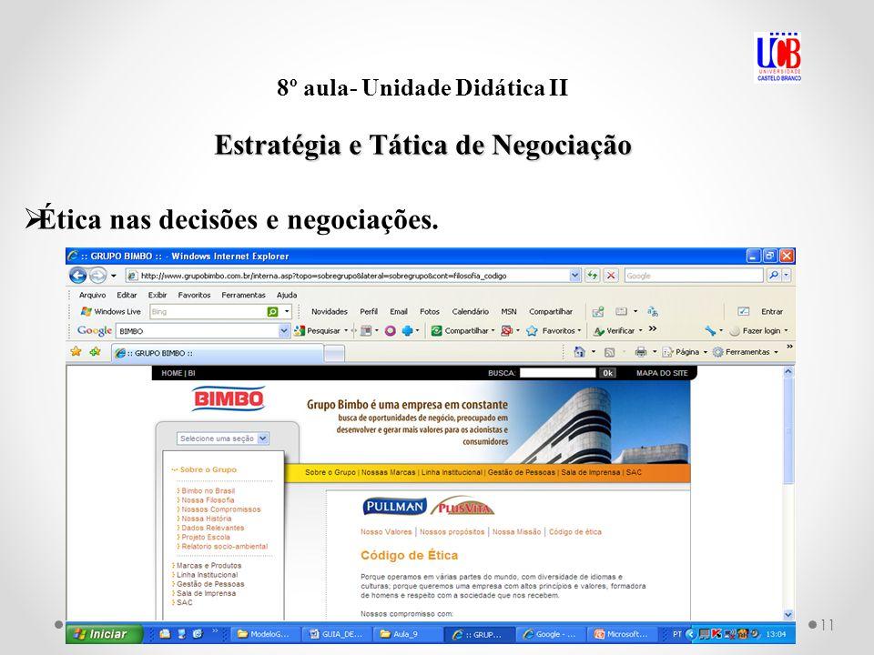 11 8º aula- Unidade Didática II Estratégia e Tática de Negociação Ética nas decisões e negociações.