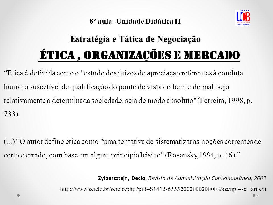 7 8º aula- Unidade Didática II Estratégia e Tática de Negociação Ética é definida como o