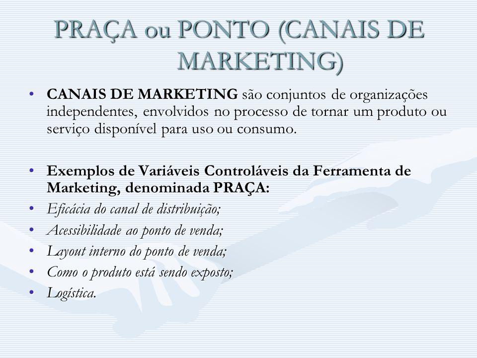 PRAÇA ou PONTO (CANAIS DE MARKETING) CANAIS DE MARKETING são conjuntos de organizações independentes, envolvidos no processo de tornar um produto ou s