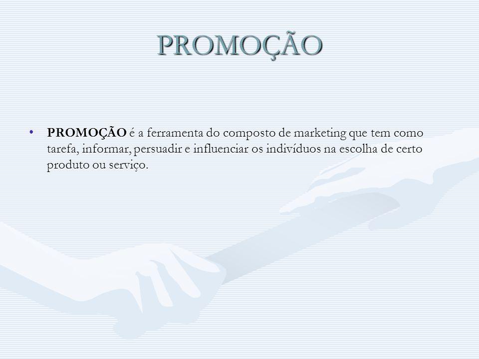 PROMOÇÃO PROMOÇÃO é a ferramenta do composto de marketing que tem como tarefa, informar, persuadir e influenciar os indivíduos na escolha de certo pro