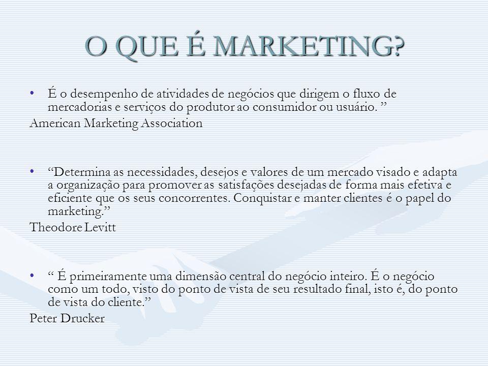 O QUE É MARKETING? É o desempenho de atividades de negócios que dirigem o fluxo de mercadorias e serviços do produtor ao consumidor ou usuário.É o des