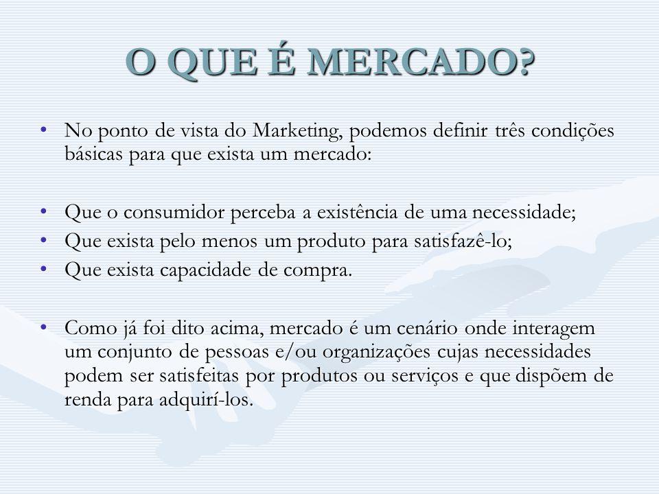 O QUE É MERCADO? No ponto de vista do Marketing, podemos definir três condições básicas para que exista um mercado:No ponto de vista do Marketing, pod