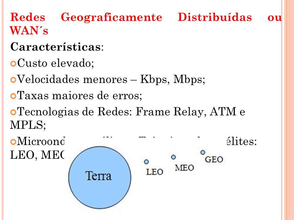 Redes Geograficamente Distribuídas ou WAN´s Características : Custo elevado; Velocidades menores – Kbps, Mbps; Taxas maiores de erros; Tecnologias de