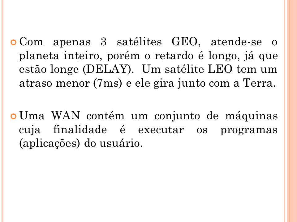Com apenas 3 satélites GEO, atende-se o planeta inteiro, porém o retardo é longo, já que estão longe (DELAY). Um satélite LEO tem um atraso menor (7ms