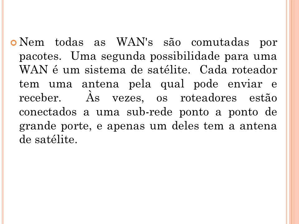 Nem todas as WAN's são comutadas por pacotes. Uma segunda possibilidade para uma WAN é um sistema de satélite. Cada roteador tem uma antena pela qual