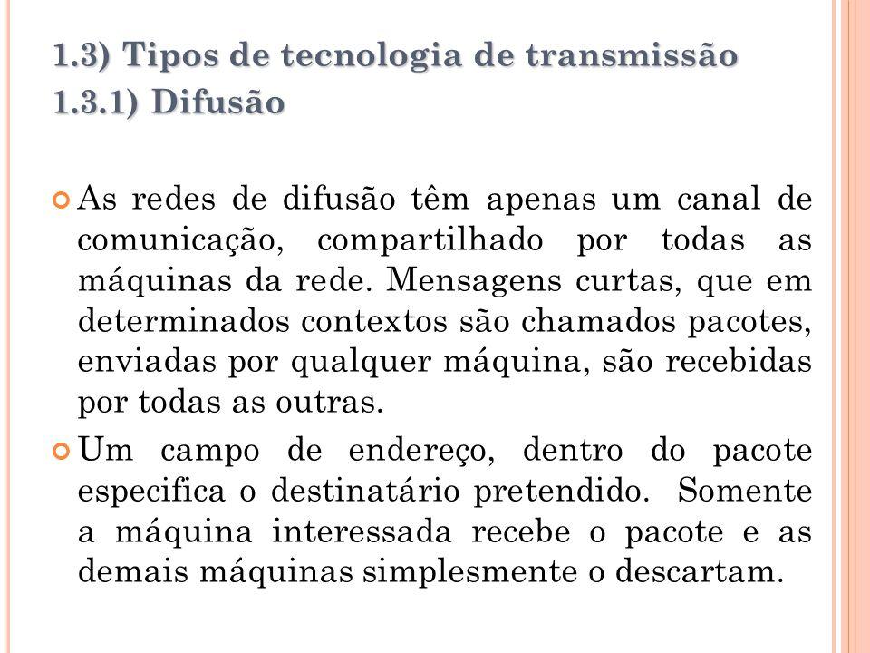 1.3) Tipos de tecnologia de transmissão 1.3.1) Difusão As redes de difusão têm apenas um canal de comunicação, compartilhado por todas as máquinas da