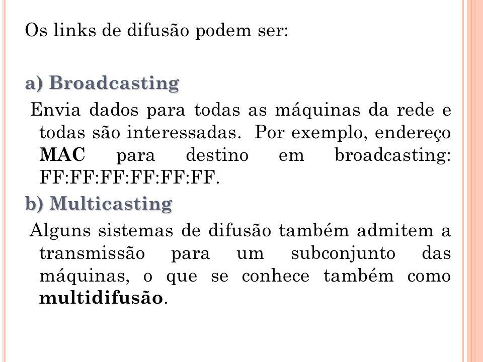 Os links de difusão podem ser: a) Broadcasting Envia dados para todas as máquinas da rede e todas são interessadas. Por exemplo, endereço MAC para des