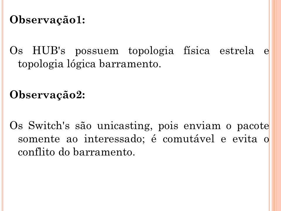Observação1: Os HUB's possuem topologia física estrela e topologia lógica barramento. Observação2: Os Switch's são unicasting, pois enviam o pacote so