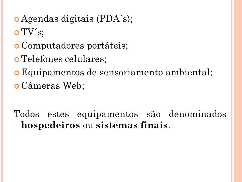 Agendas digitais (PDA´s); TV´s; Computadores portáteis; Telefones celulares; Equipamentos de sensoriamento ambiental; Câmeras Web; Todos estes equipam