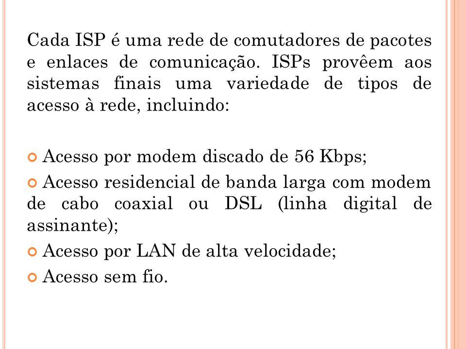 Cada ISP é uma rede de comutadores de pacotes e enlaces de comunicação. ISPs provêem aos sistemas finais uma variedade de tipos de acesso à rede, incl
