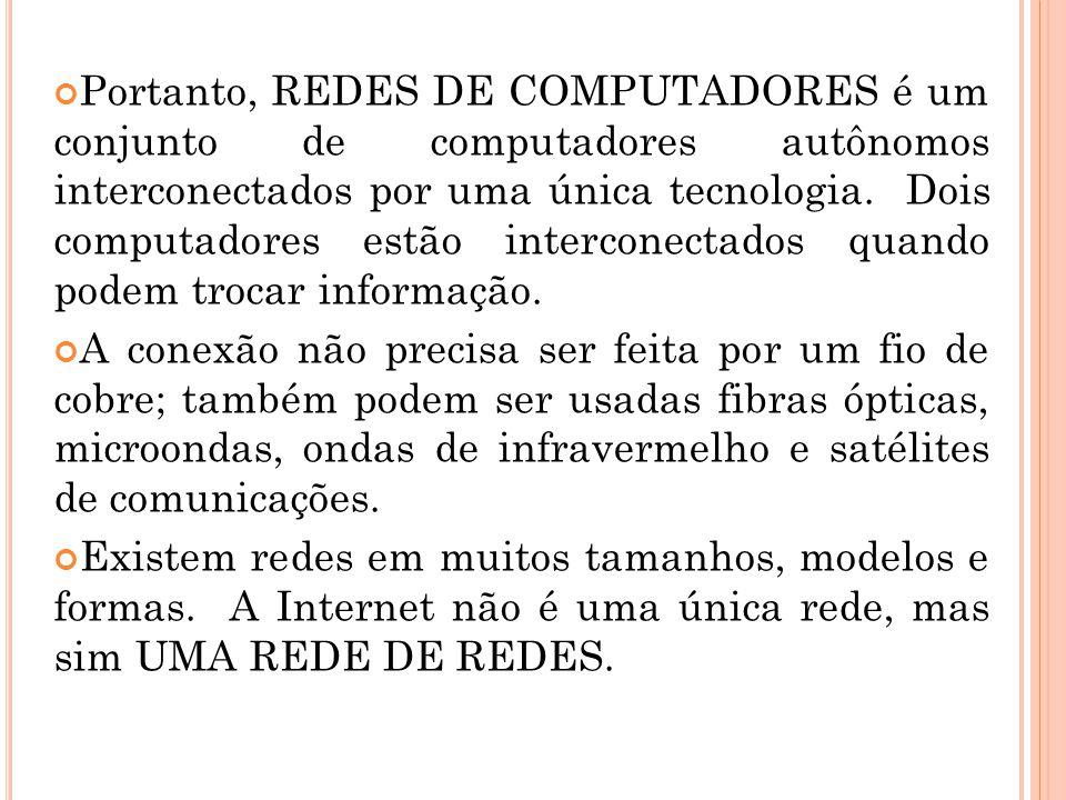 Portanto, REDES DE COMPUTADORES é um conjunto de computadores autônomos interconectados por uma única tecnologia. Dois computadores estão interconecta