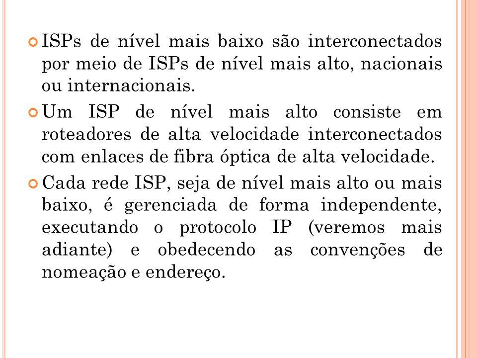 ISPs de nível mais baixo são interconectados por meio de ISPs de nível mais alto, nacionais ou internacionais. Um ISP de nível mais alto consiste em r