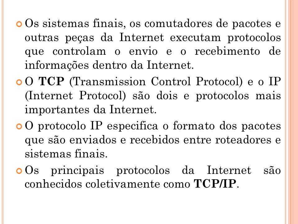 Os sistemas finais, os comutadores de pacotes e outras peças da Internet executam protocolos que controlam o envio e o recebimento de informações dent
