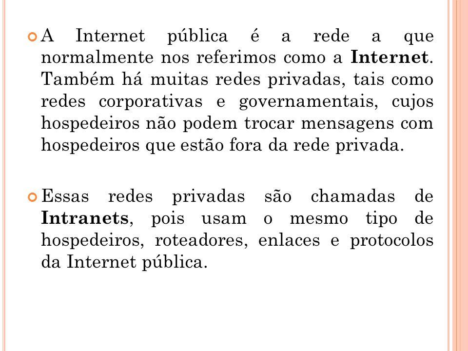 A Internet pública é a rede a que normalmente nos referimos como a Internet. Também há muitas redes privadas, tais como redes corporativas e govername