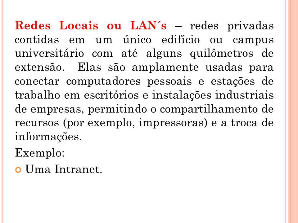 Redes Locais ou LAN´s – redes privadas contidas em um único edifício ou campus universitário com até alguns quilômetros de extensão. Elas são amplamen