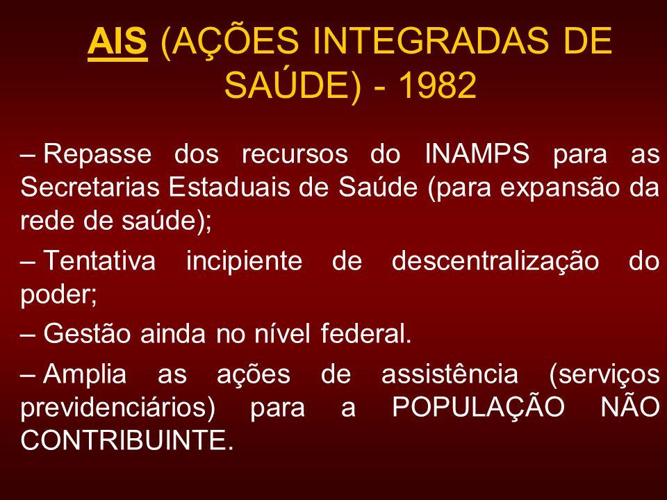 AIS (AÇÕES INTEGRADAS DE SAÚDE) - 1982 – Repasse dos recursos do INAMPS para as Secretarias Estaduais de Saúde (para expansão da rede de saúde); – Tentativa incipiente de descentralização do poder; – Gestão ainda no nível federal.