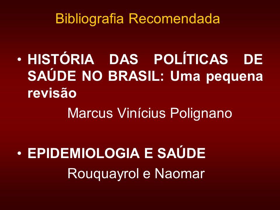 HISTÓRIA DAS POLÍTICAS DE SAÚDE NO BRASIL: Uma pequena revisão Marcus Vinícius Polignano EPIDEMIOLOGIA E SAÚDE Rouquayrol e Naomar Bibliografia Recomendada