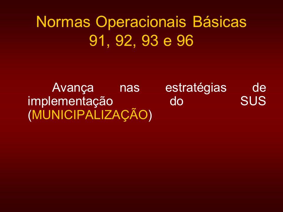 Normas Operacionais Básicas 91, 92, 93 e 96 Avança nas estratégias de implementação do SUS (MUNICIPALIZAÇÃO)