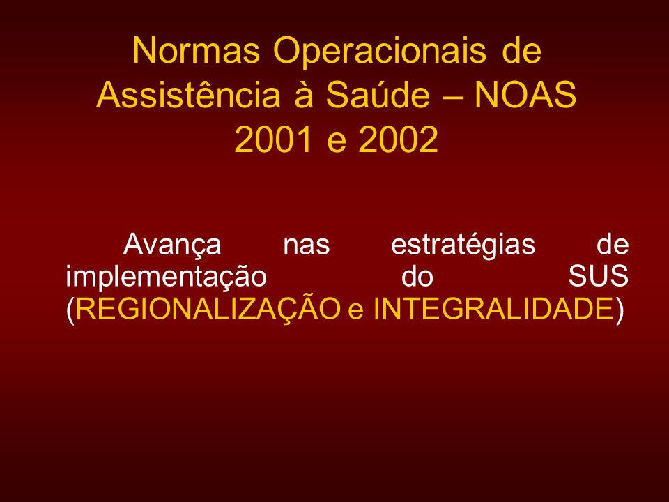 Normas Operacionais de Assistência à Saúde – NOAS 2001 e 2002 Avança nas estratégias de implementação do SUS (REGIONALIZAÇÃO e INTEGRALIDADE)