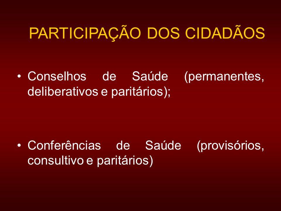 PARTICIPAÇÃO DOS CIDADÃOS Conselhos de Saúde (permanentes, deliberativos e paritários); Conferências de Saúde (provisórios, consultivo e paritários)